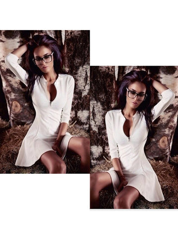 White Zip Front Long Sleeve Mini Dress
