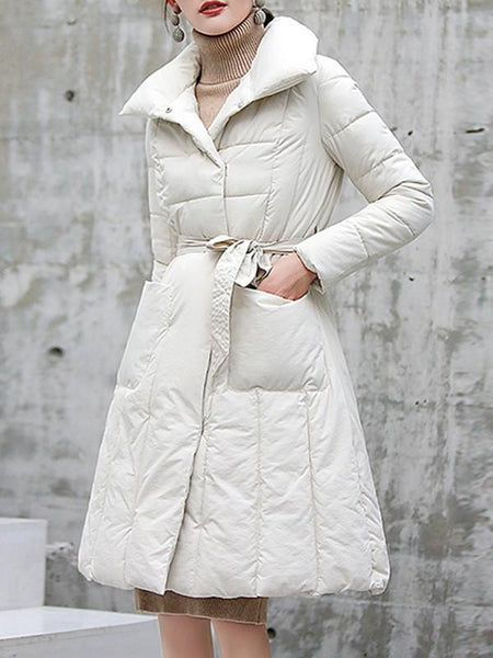 New White Belt Pockets Double Breasted Turndown Collar Fashion Outerwear