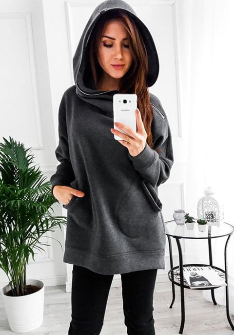 DaysCloth Grey Patchwork Hooded Long Sleeve Pockets Zipper Fashion Pullover Sweatshirt