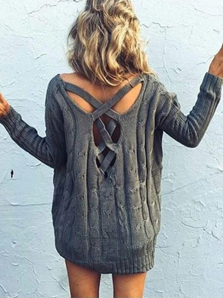 New Grey Cut Out Backless V-neck Fashion Pullover Sweater