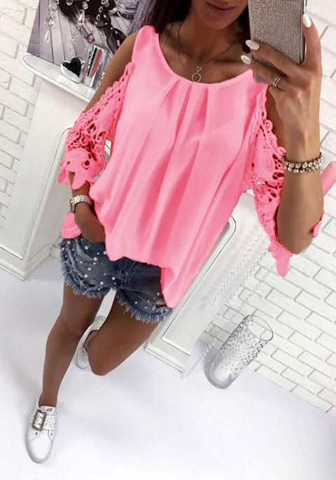 DaysCloth Pink Patchwork Cut Out Tie Back Round Neck Casual Blouse