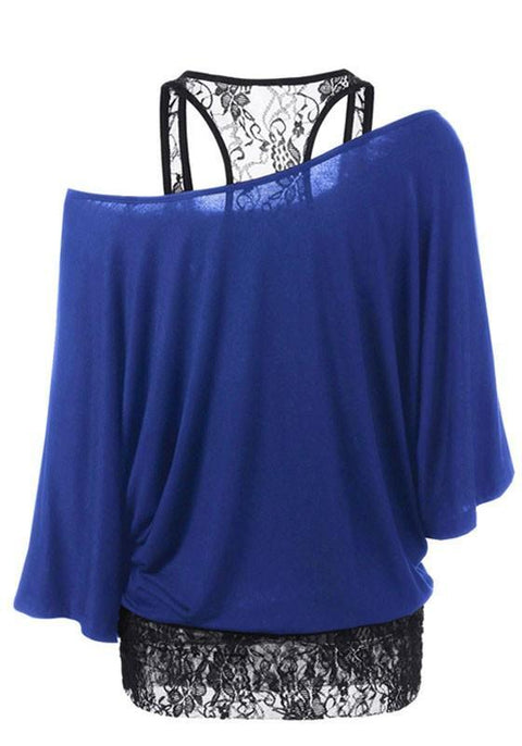 DaysCloth Blue-Black Patchwork Lace Hollow-out One-shoulder Long Sleeve T-Shirt