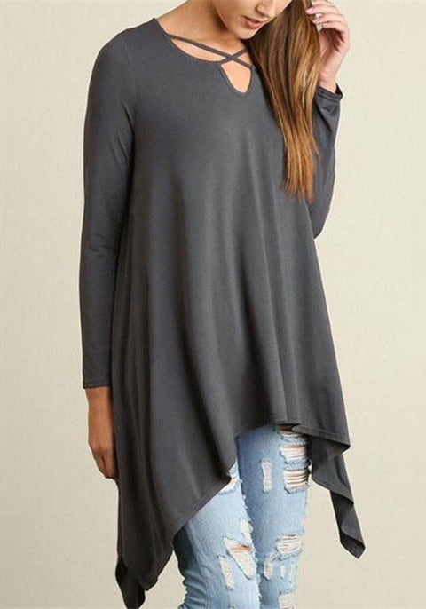 DaysCloth Grey Irregular Round Neck Long Sleeve T-Shirt