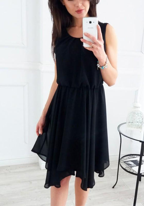 DaysCloth Black Irregular Pleated Ruched Cute Sweet Homecoming Party Bohemian Midi Dress