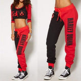 New Red Monogram Print Drawstring Harley Quinn Jogger Set Halloween Sports Long Jumpsuit
