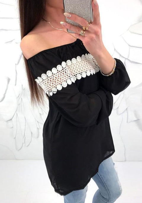 DaysCloth Black Patchwork Cut Out Shoulder Backless Sweet Blouse