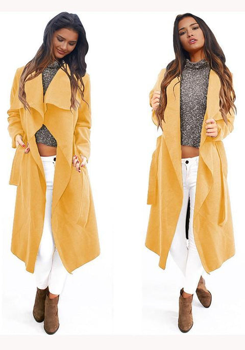 DaysCloth Yellow Plain Irregular Sashes Turndown Collar Long Sleeve Fashion Coat