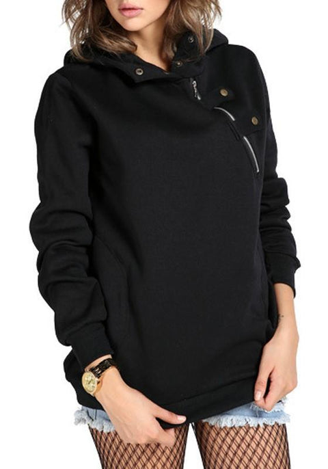 DaysCloth Black Irregular Zipper Pockets Hooded Long Sleeve Pullover Sweatshirt
