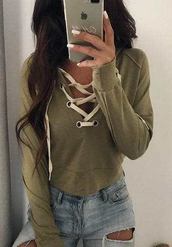 Army Green Plain Drawstring Hooded Casual Pullover Sweatshirt