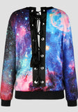New Multicolor Galaxy Print Drawstring Round Neck Long Sleeve Pullover Sweatshirt