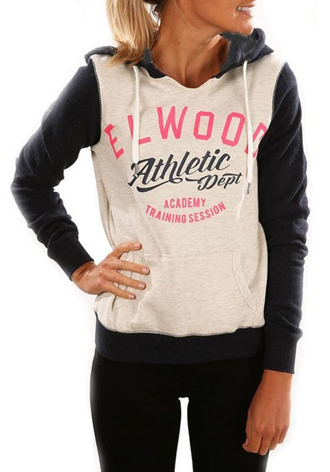 DaysCloth Pink Monogram Print Pockets Hooded Long Sleeve Casual Pullover Sweatshirt