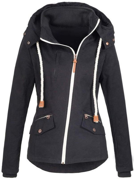 New Black Pockets Zipper Drawstring Hooded Long Sleeve Casual Sweatshirt