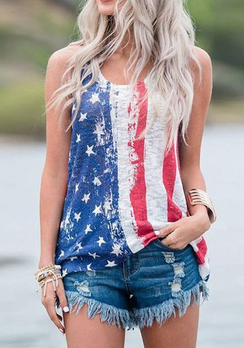 DaysCloth Blue The Stars And Striped Print American Flag Independence Day Casual Vest