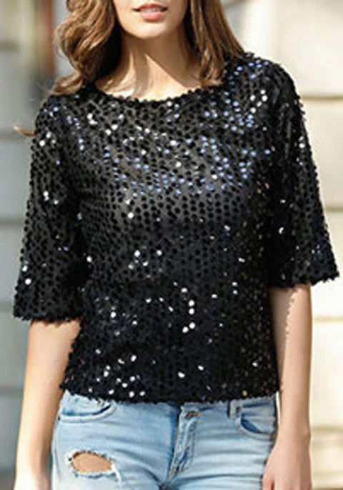 DaysCloth Black Sequin Round Neck Three Quarter Length Sleeve Fashion T-Shirt