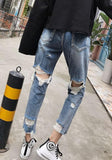 Blue Pockets Buttons Zipper Ripped Distressed Denim Boyfriend Long Jeans