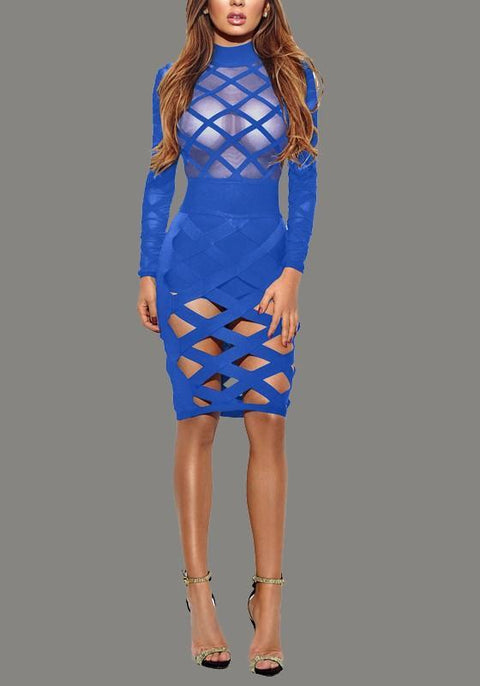 DaysCloth Blue Cross Cut Out Grenadine Bodycon Sheer High Neck Party Club Midi Dress