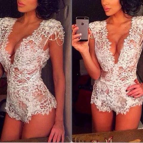 DaysCloth White Plain Lace Cut Out Bodysuit lingerie Short Jumpsuit