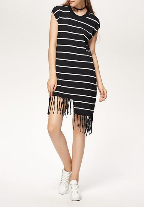 DaysCloth Black-White Striped Irregular Tassel Comfy Casual Midi Dress