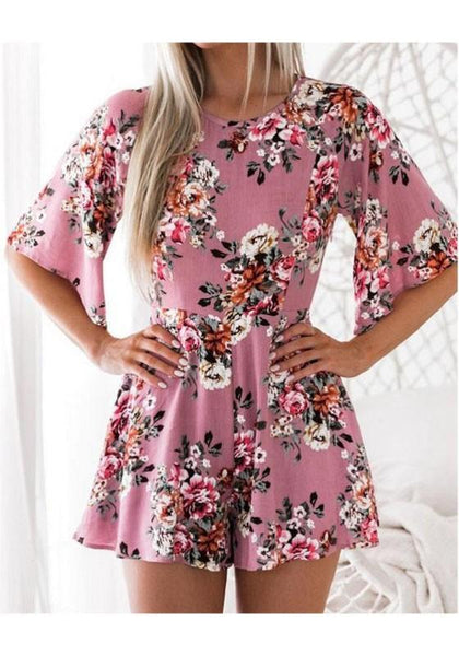 Pink Floral Print Buttons Backless One Piece Bohemian Party Short Jumpsuit