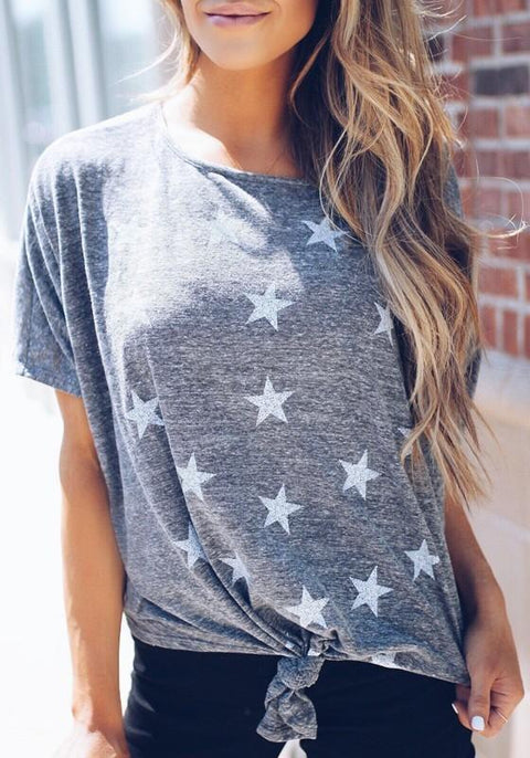 DaysCloth Grey Star Print Knot Round Neck Going out Casual T-Shirt