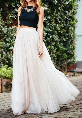 New White Grenadine Elastic Waist Mid-rise Fluffy Puffy Tulle Long Skirt