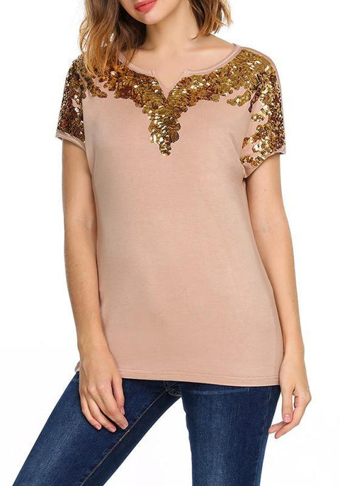 DaysCloth Dusty Pink Patchwork Sequin V-neck Casual T-Shirt
