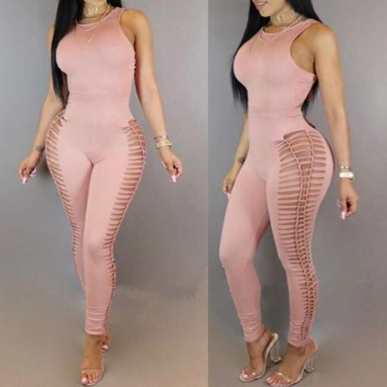 Pink Backless Tie Back Sleeveless High Waisted One Piece Long Jumpsuit