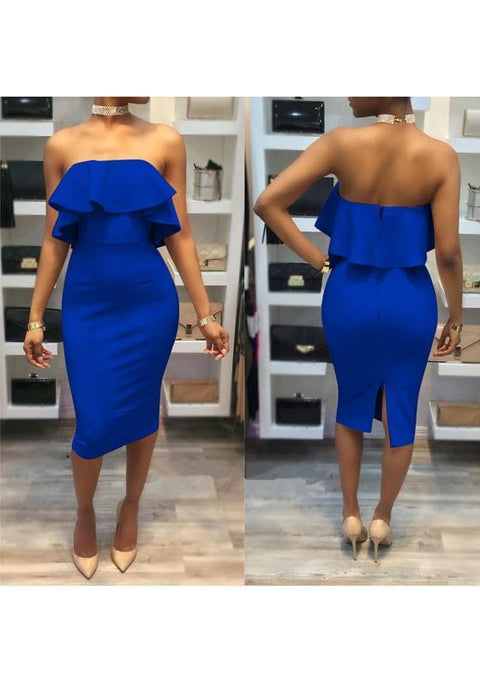 DaysCloth Blue Bandeau Zipper Ruffle Off Shoulder Off Shoulder Bodycon Midi Dress