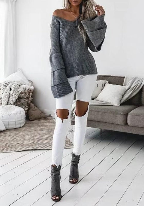 DaysCloth Grey Patchwork Draped V-neck Long Sleeve Fashion Sweater
