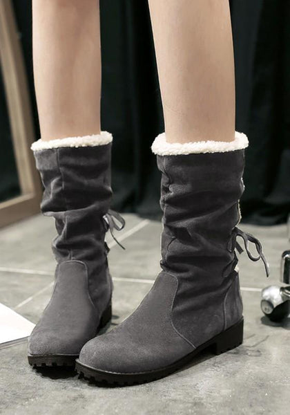 New Grey Round Toe Chunky Cross Strap Casual Mid-Calf Boots
