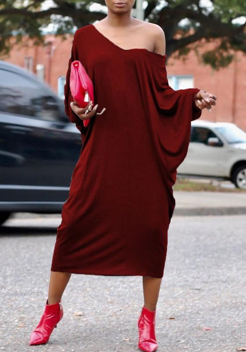 DaysCloth Burgundy Cut Out Dolman Sleeve Baggy Backless Casual Midi Dress
