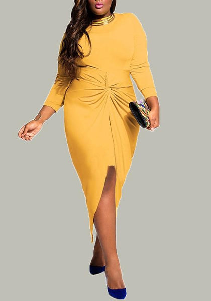 New Yellow Irregular Slit Knot Round Neck Long Sleeve Plus Size Wrap Midi Dress