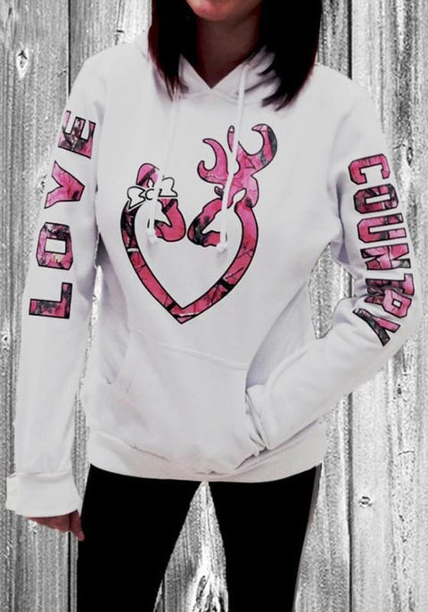 DaysCloth White Love Monogram Print Drawstring Pockets Hooded Sweet Pullover Sweatshirt