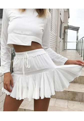 DaysCloth White Drawstring Sweet Homecoming Skirt