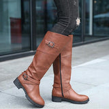 New Brown Round Toe Chunky Buckle Knee-High Casual Boots