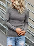 New Grey Round Neck Long Sleeve Oversize Casual Pullover Sweater