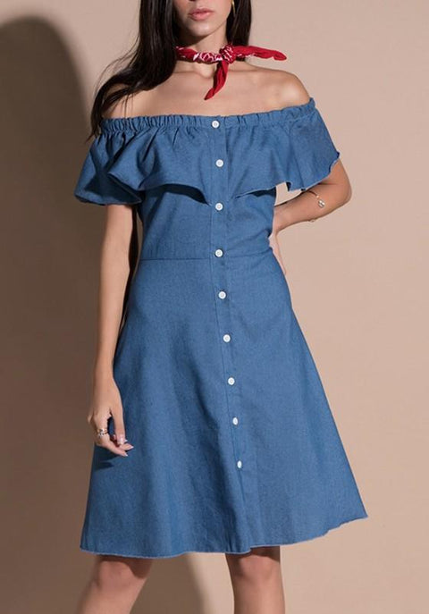 DaysCloth Blue Ruffle Single Breasted Off Shoulder Denim Flare Out Casual Midi Dress