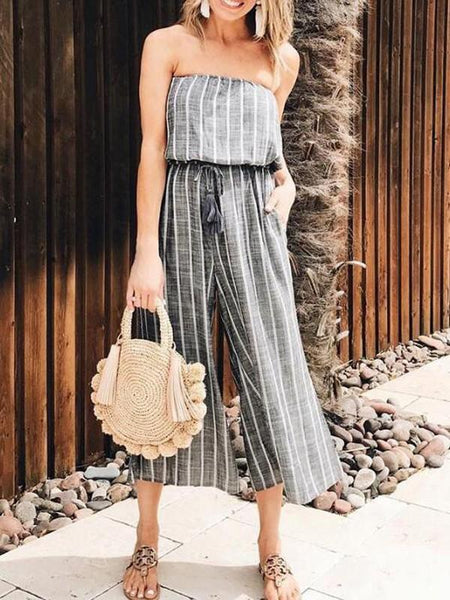 New Grey-White Striped Pockets Bandeau Off Shoulder High Waisted Casual Wide Leg Seven's Jumpsuit