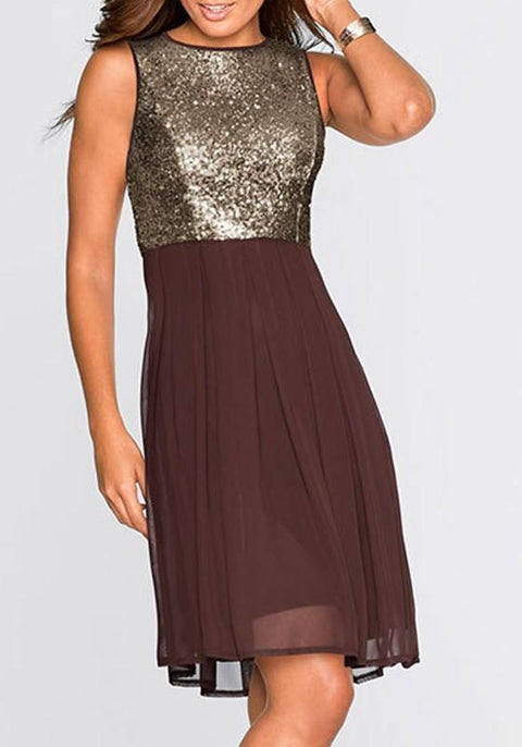 DaysCloth Coffee Sequin Patchwork Round Neck Sleeveless Fashion Midi Dress