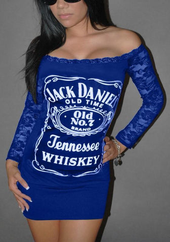 Dark Blue Letter Lace Boat Neck Long Sleeve Mini Dress