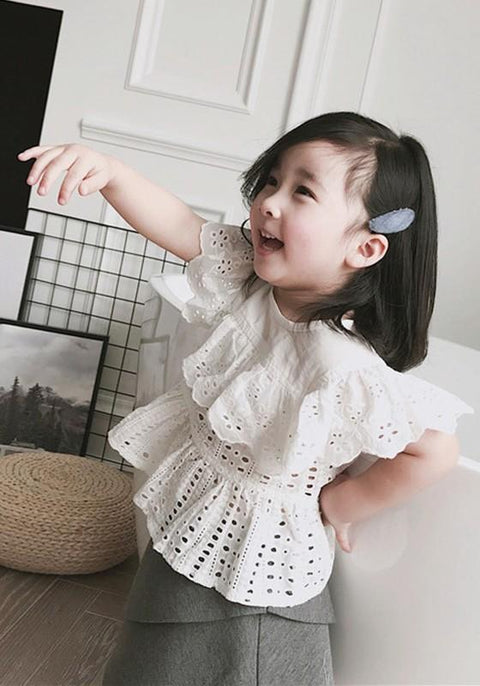 DaysCloth White Cut Out Ruffle Round Neck Short Sleeve Children's Blouse
