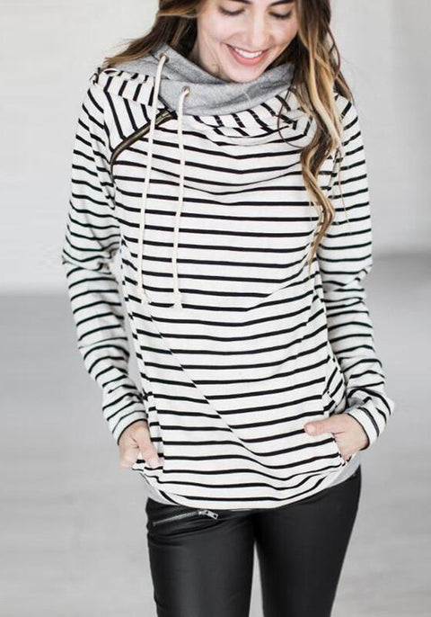 DaysCloth White Striped Drawstring Zipper Plus Size Long Sleeve Fashion Hooded Pullover Sweatshirt