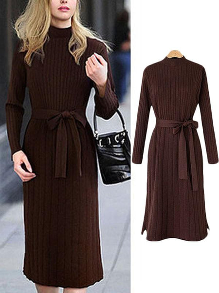 New Dark Brown Belt Band Collar Long Sleeve Going out Midi Dress