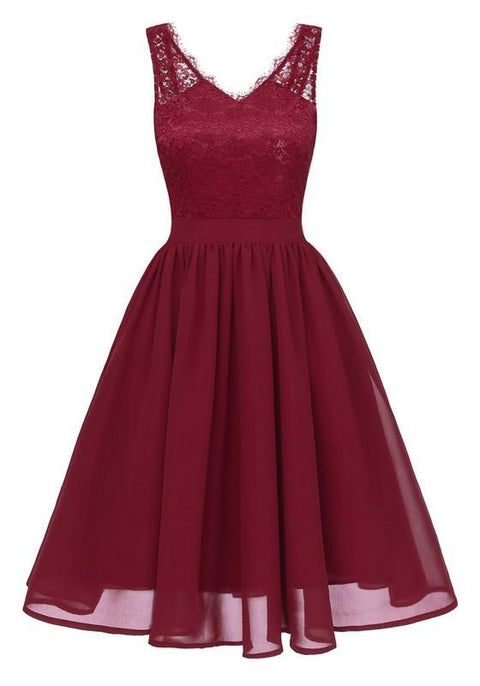 DaysCloth Red Patchwork Lace Pleated V-neck Backless Chiffon Midi Dress