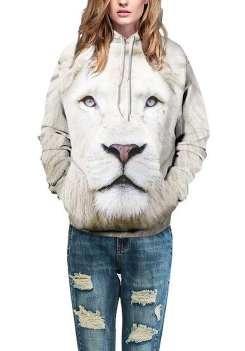 DaysCloth White Lion Print Drawstring Pockets Hooded Fashion Sweatshirt