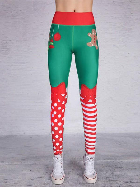 New Green Polka Dot Striped Snowman Pockets Bow Print High Waisted Casual Long Leggings