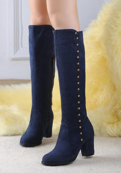 New Blue Round Toe Chunky Rivet Zipper Fashion Knee-High Boots