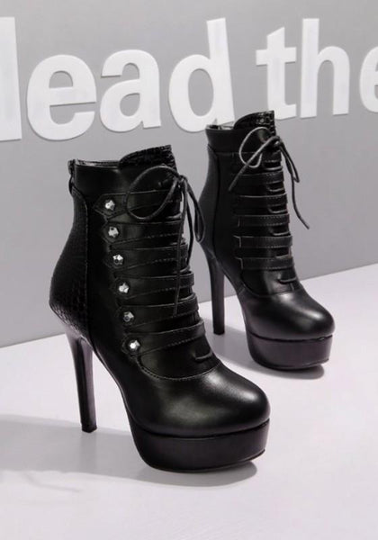 New Black Round Toe Stiletto Rivet Fashion Ankle Boots