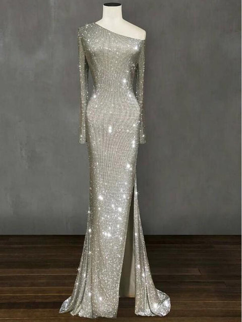 DaysCloth New Silver Sequin Irregular Glitter Side Slit One-shoulder Sparkly Mermaid Banquet Wedding Maxi Dress