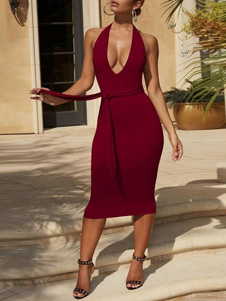 New Red Belt Lace-up Halter Neck Backless Deep V Neck Below Knee Length Streetwear Midi Dress